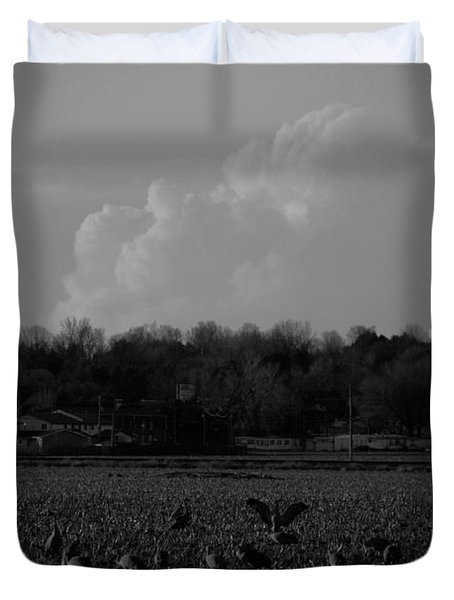 Sand Hill Cranes With Nebraska Thunderstorm Duvet Cover