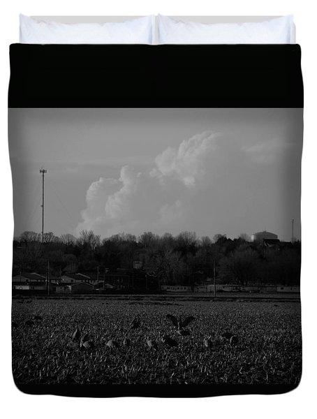 Sand Hill Cranes With Nebraska Thunderstorm Duvet Cover