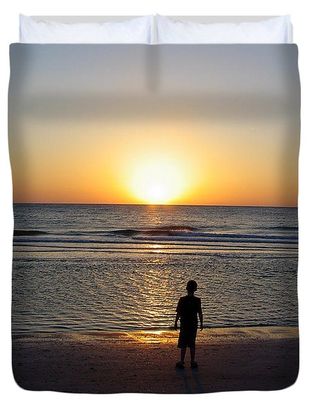 Duvet Cover featuring the photograph Sand Key Sunset by David Nicholls
