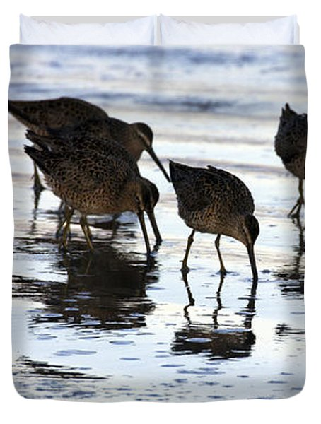 Sand Pipers Reflected Duvet Cover