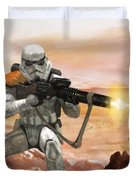 Sand Trooper - Star Wars The Card Game Duvet Cover by Ryan Barger