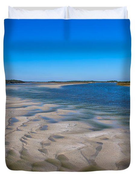 Sandbars On The Fort George River Duvet Cover