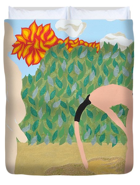 Duvet Cover featuring the painting Sanded by Erika Chamberlin