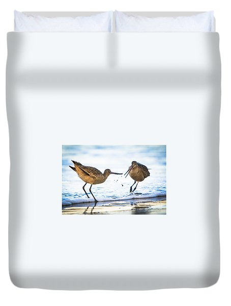 Sanderlings Playing At The Beach Duvet Cover