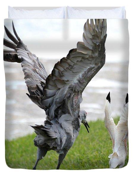 Sandhill Chasing Ibis Duvet Cover