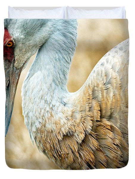 Sandhill Crane Duvet Cover by Michele Wright
