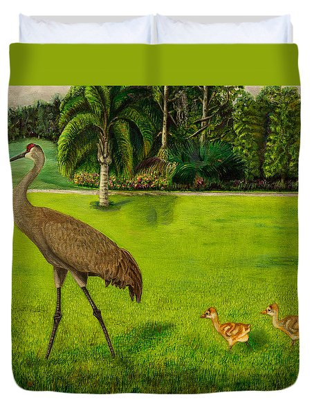 Painted Sandhill Crane With Chicks  Duvet Cover