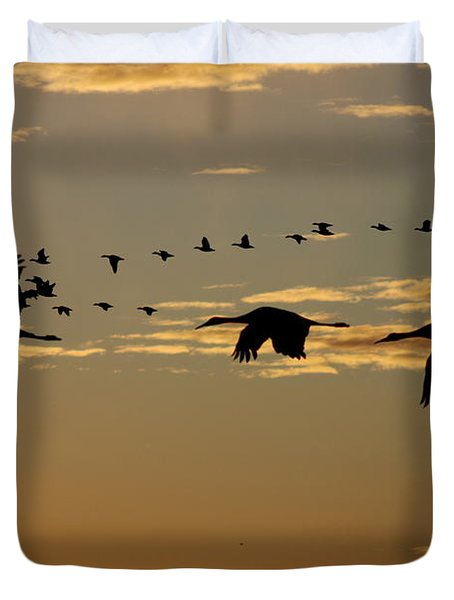Sandhill Cranes At Sunset Duvet Cover
