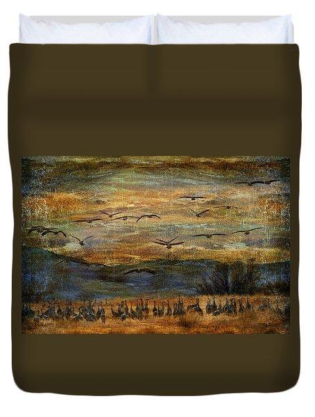 Sandhill Cranes Duvet Cover