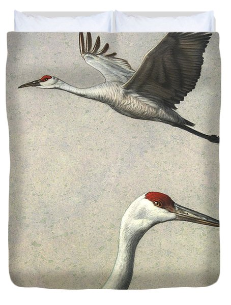 Sandhill Cranes Duvet Cover by James W Johnson
