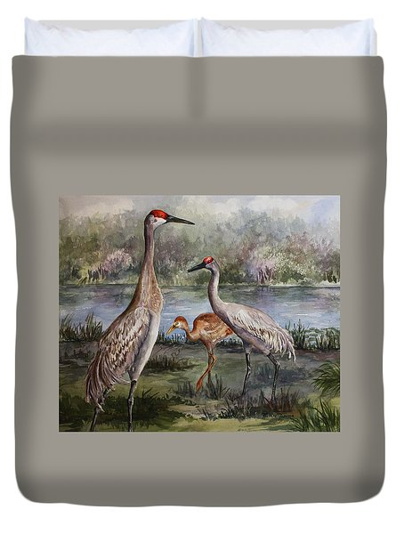 Sandhill Cranes On Alert Duvet Cover