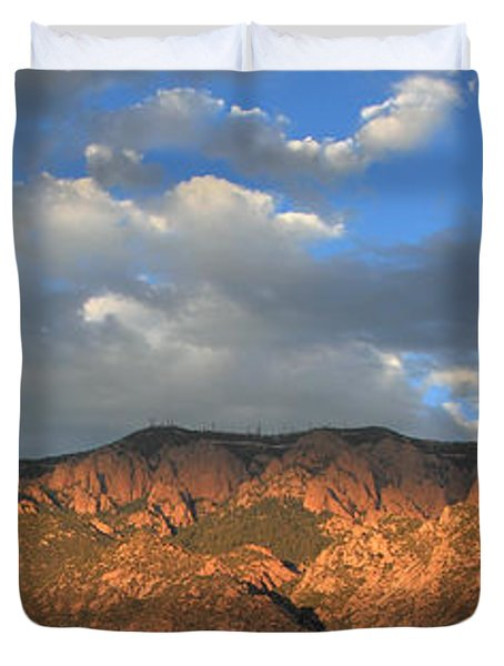 Sandia Crest At Sunset Duvet Cover by Alan Vance Ley