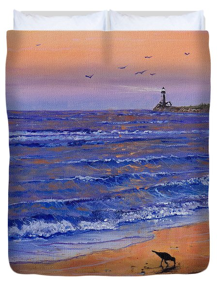 Sandpiper At Sunset Duvet Cover by C Steele