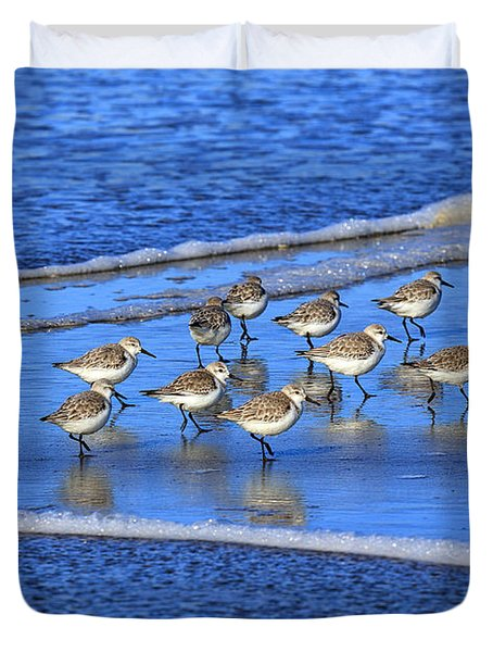 Sandpiper Symmetry Duvet Cover by Robert Bynum