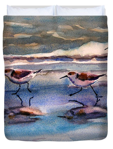 Sandpipers Running In Beach Shade 3-10-15 Duvet Cover