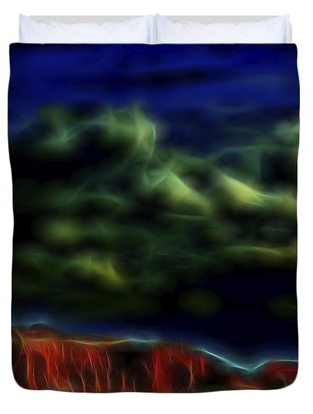 Duvet Cover featuring the digital art Sandstone Monolith 1 by William Horden