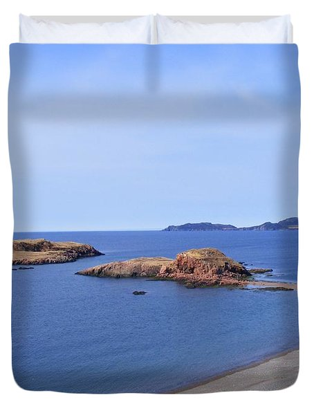 Sandy Beach - Little Island - Coastline - Seascape  Duvet Cover by Barbara Griffin