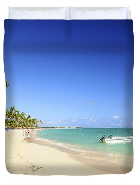 Sandy Beach On Caribbean Resort  Duvet Cover by Elena Elisseeva