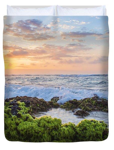 Sandy Beach Sunrise 2 Duvet Cover by Leigh Anne Meeks