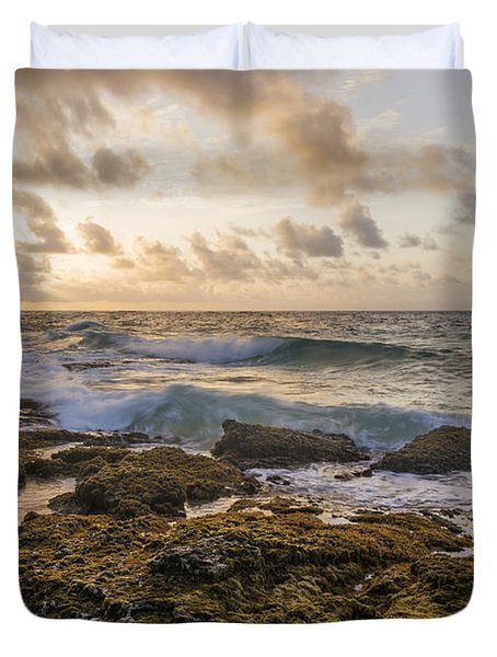 Sandy Beach Sunrise 2 - Oahu Hawaii Duvet Cover by Brian Harig