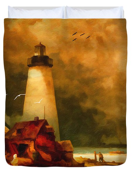Sandy Hook Lighthouse - After Moran Duvet Cover by Lianne Schneider