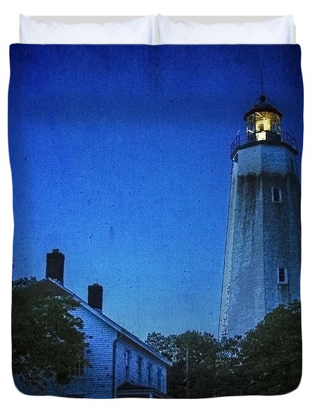 Duvet Cover featuring the photograph Sandy Hook Lighthouse At Twilight by Debra Fedchin