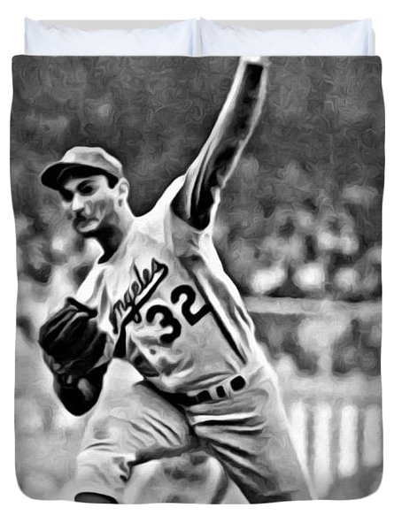 Sandy Koufax Throwing The Ball Duvet Cover