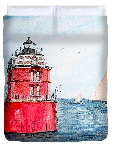 Sandy Point Lighthouse 2 Duvet Cover