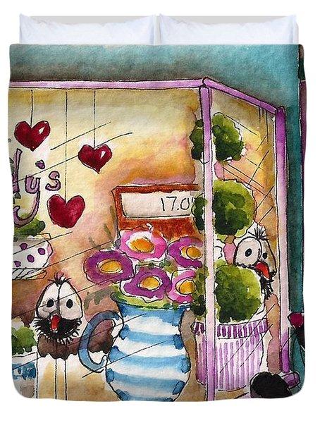 Sandy's Floral Shop Duvet Cover by Lucia Stewart