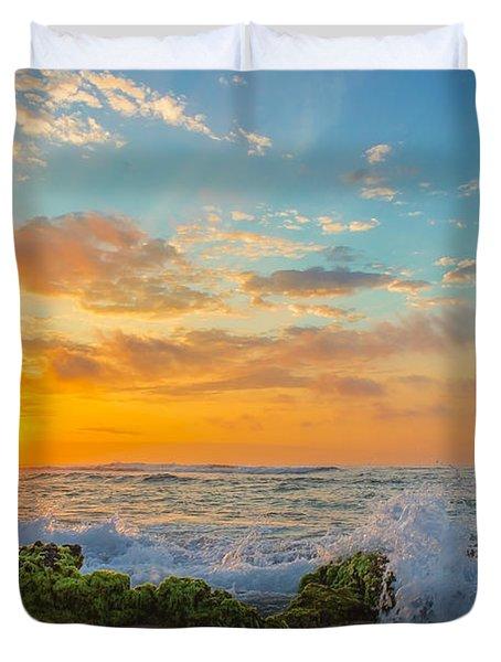 Sandy Beach Sunrise 3 Duvet Cover by Leigh Anne Meeks