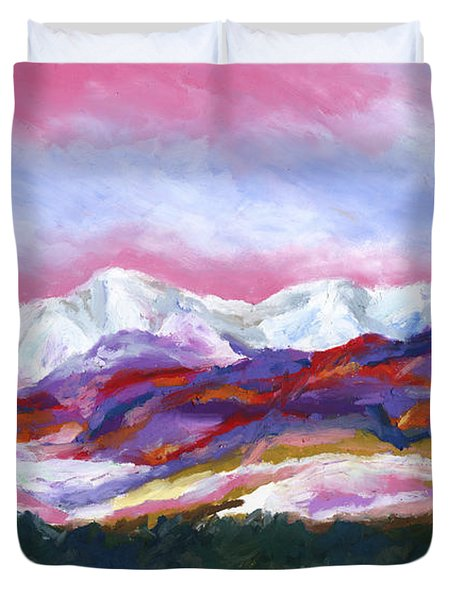 Duvet Cover featuring the painting Sangre De Cristo Mountains by Stephen Anderson