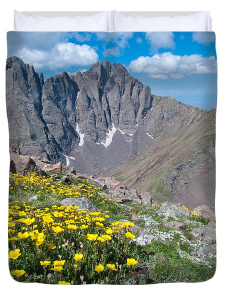 Sangre De Cristos Crestone Peak And Wildflowers Duvet Cover