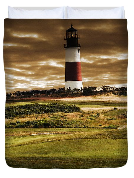Sankaty Head Lighthouse In Nantucket Duvet Cover by Mitchell R Grosky