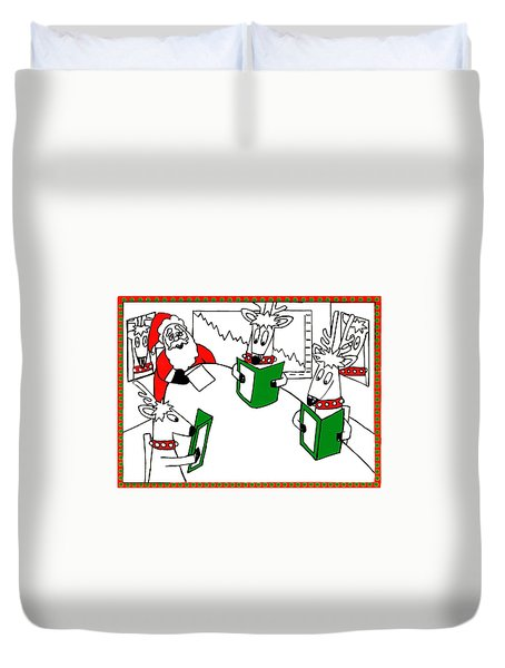 Santa And Reindeer Conference Duvet Cover by Genevieve Esson