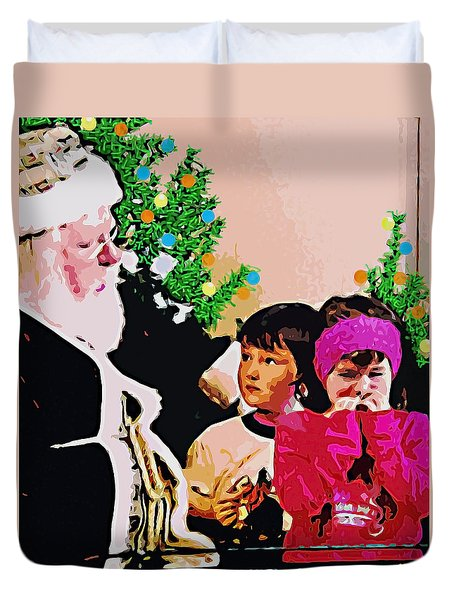 Santa And The Kids Duvet Cover