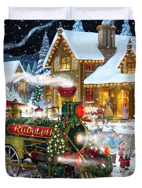 Santa Arrives In Rudolph Train Duvet Cover