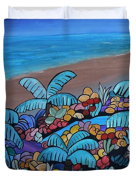 Duvet Cover featuring the painting Santa Barbara Beach by Barbara St Jean