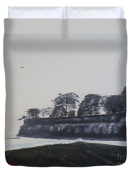 Duvet Cover featuring the painting Santa Barbara Shoreline Park by Ian Donley