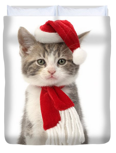 Santa Cat Duvet Cover by Greg Cuddiford