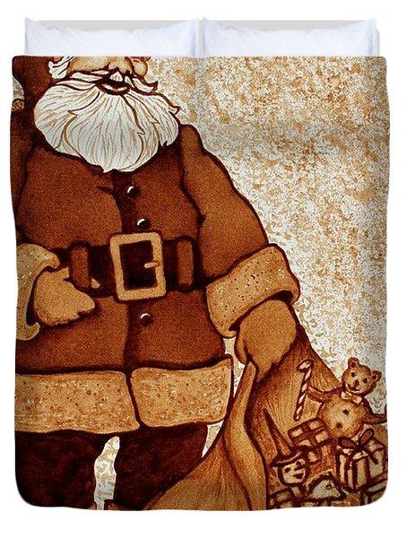 Duvet Cover featuring the painting Santa Claus Bag by Georgeta  Blanaru