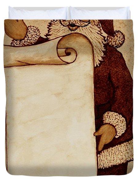 Duvet Cover featuring the painting Santa Claus Wishlist Original Coffee Painting by Georgeta  Blanaru