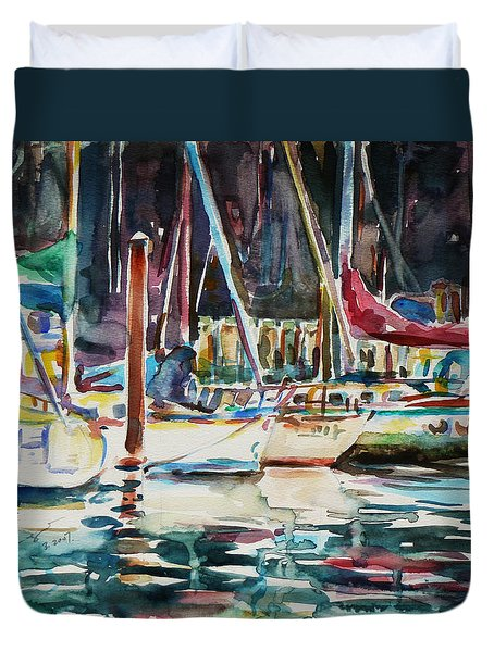 Duvet Cover featuring the painting Santa Cruz Dock by Xueling Zou