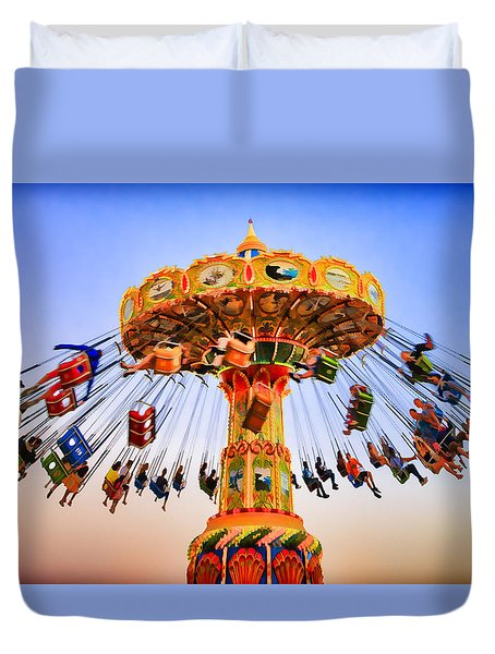 Santa Cruz Seaswing At Sunset 8 Painterly Duvet Cover by Scott Campbell