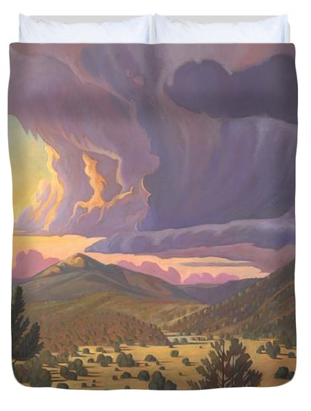 Duvet Cover featuring the painting Santa Fe Baldy by Art James West
