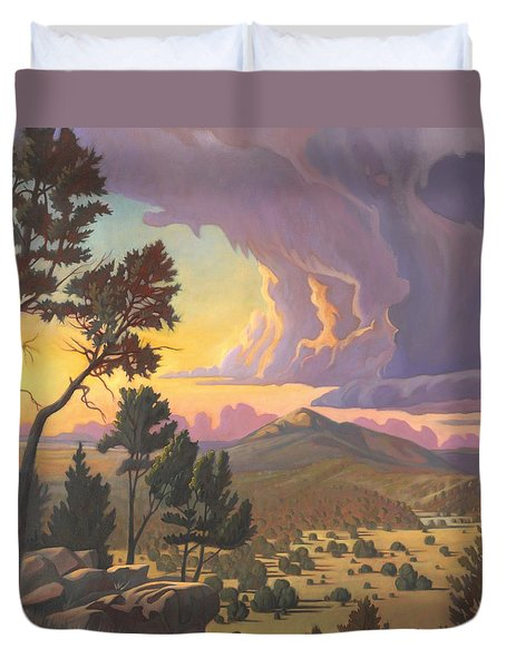 Duvet Cover featuring the painting Santa Fe Baldy - Detail by Art James West