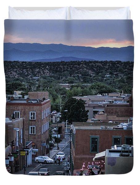 Duvet Cover featuring the photograph Santa Fe Evening Rooftops by John Hansen