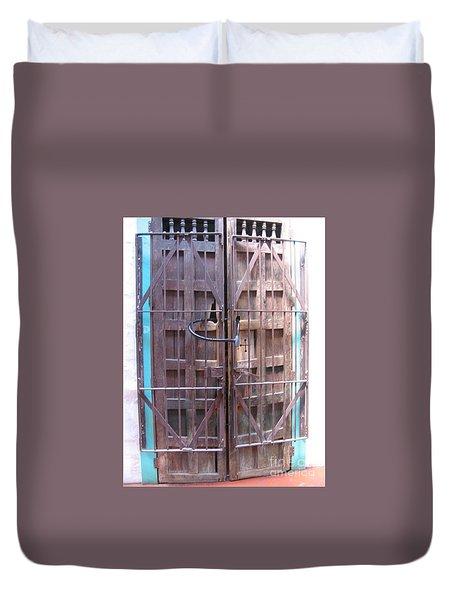 Duvet Cover featuring the photograph Santa Fe Old Door by Dora Sofia Caputo Photographic Art and Design