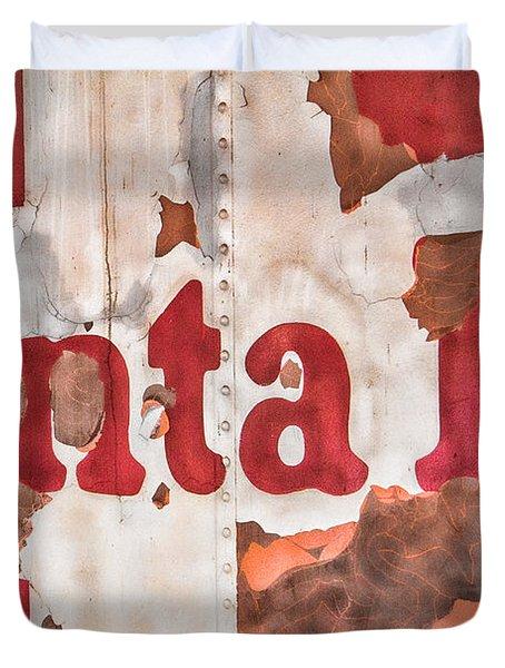 Santa Fe Vintage Railroad Sign Duvet Cover