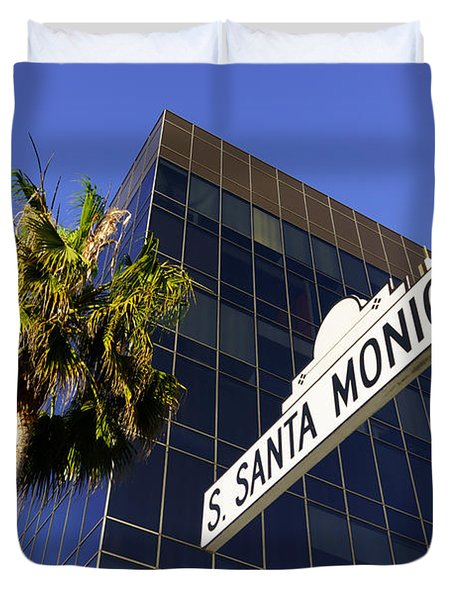Santa Monica Blvd Sign In Beverly Hills California Duvet Cover
