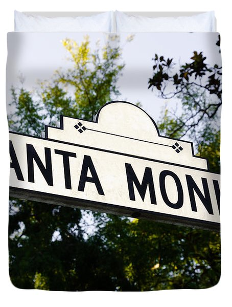 Santa Monica Blvd Street Sign In Beverly Hills Duvet Cover
